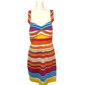 CALVIN KLEIN | Stripe Colorful Dress